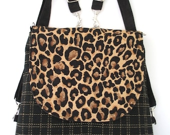 Leopard purse, black backpack, fabric messenger bag, shoulder tote bag, crossbody bag messenger, everyday bag, fit ipad
