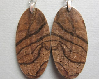 Unique Exotic Wood Earrings Oval Drop Exotic Wood handcrafted ecofriendly ExoticWoodJewelry