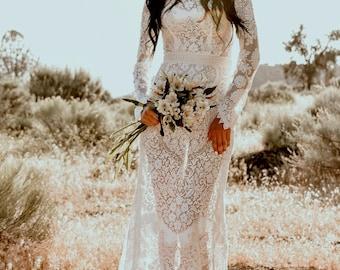 Long Sleeve Vintage Floral Lace Mermaid Trumpet WEDDING Maxi Dress Gown With Mini Train Bohemian Boho Saldana  Elopement Penelope Dress