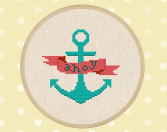 Ahoy Banner Cross Stitch Pattern, Anchor Cross Stitch Pattern Nautical Modern Simple Cute Counted Cross Stitch PDF Pattern. Instant Download