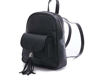 Unique Black Leather Backpack for Women, Leather backpack, Gift for her