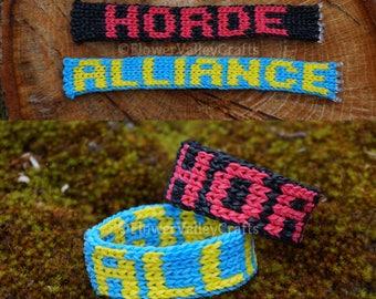 World of Warcraft. Bracelet. Horde. Alliance. Gamer. Gift. Custom Colors. Custom Letters. Personalized. Gift.