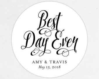 Best Day Ever Wedding Favor Labels, Best Day Ever Favor Tags, Best Day Ever Favor Stickers, Wedding Labels, Printed Labels, Monogram, Script