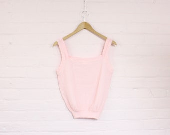 80s pastel pink knit tank top · baby pink knitted top · girly 80s shirt · vintage girly clothing · romantic clothes · 80 summer top · s / m
