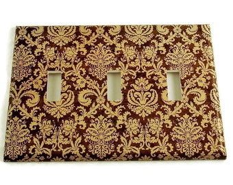 Triple Toggle Switch Plate in Brown and Cream Damask (221T)