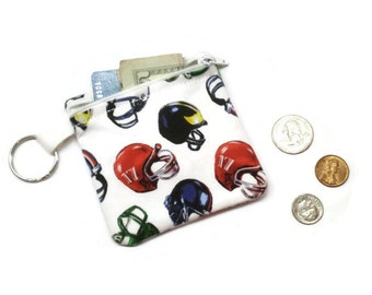 Football theme pouch, football coin purse, coin purse keychain, zippered pouch, football player gift, under 10 gift, stocking stuffer