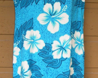 vtg HONOLOA SURF CO Mini-Dress, Size M/L, Sleeveless, Blue Floral Vintage