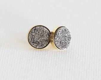 Sparkling Platinum Natural Druzy Stud Earrings - druzy quartz, gemstone studs, post, bridesmaid gift, under 40, small, glitter, jewel, black