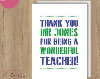 Thank You Teacher Card - Personalised Design - Thank You Card - School Teacher - Printable Card - Digital Download File - Typography