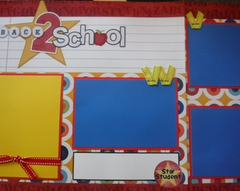 Back to School Star Student Premade  12x12 Scrapbook Pages for your FAMILY  Boy GIRL