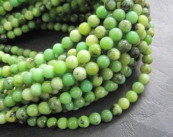 Yellow Green Chinese Chrysoprase 6mm Round beads