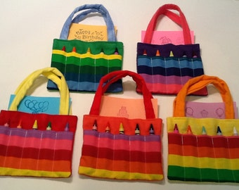 Rainbow Children's Crayon Bag and Customized Paper, Birthday Party Favor
