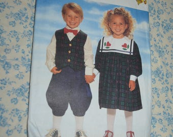Butterick 4216  Childrens Dress Vest Knickers and Bow Tie Sewing Pattern - UNCUT - Size 2 3 4