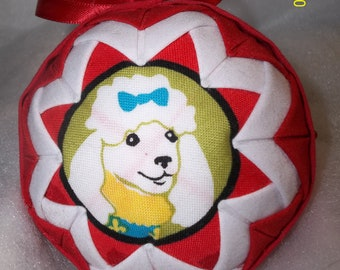 Quilted Christmas Ornament - Poodle