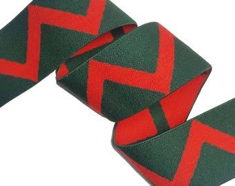 Green Red Aztec Gucci Style Rubber Elastic Trim, DIY Fashion Elastic Trim