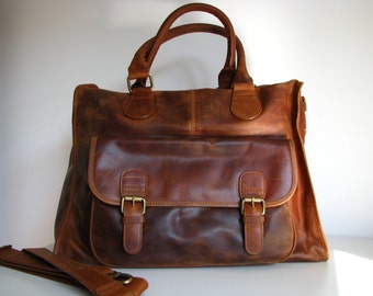 Leather Weekender /Holdall /Travel Bag, Laptop Bag, Brown
