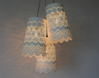 Baby's Breath CHANDELIER- Upcycled Hanging Pendant Lighting Fixture Featuring 3 White Metal Mesh Lace Shades - Rustic BootsNGus Lamps Design