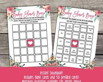 Floral Baby Shower Bingo Game - Flower Bingo - Baby Shower Games - Girl Baby Shower Games Baby-111