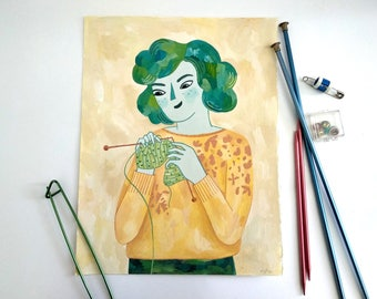 The knitter. Gouache original painting. Knitting inspired painting.