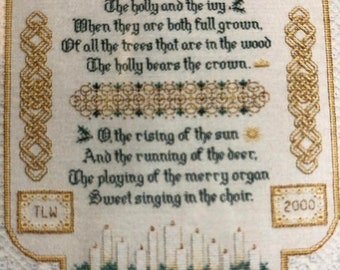 SUMMERSALE TW designworks, Holly and Ivy Sampler, Teresa Wentzler, Counted, Cross Stitch Pattern, Stitch Count, 278 by 194