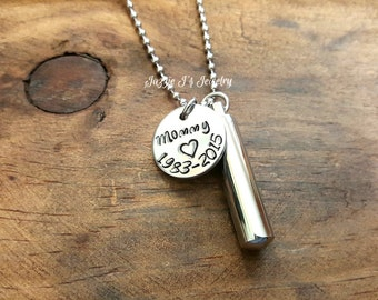 Personalized Cremation Urn Pendant-Stainless Steel Urn Necklace-Memorial Necklace-Remembrance Necklace-Cremation-Sympathy-Pet Urn for Ashes