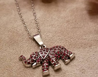 Crimson Tide Mascot Necklace, Elephant, Team Football, Alabama Football Team Mascot, Fan, Crimson Rhinestone Pendant Necklace
