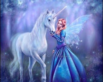 Rhiannon - Einhorn & Fairy Malerei von Rachel Anderson