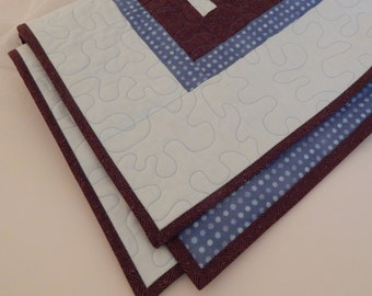 Handmade Baby Quilt, Baby Blanket, Modern Design, Light Blue and Brown, Downton Abbey Fabric, Baby Boy Quilt, Baby Shower Gift, 31 x 42
