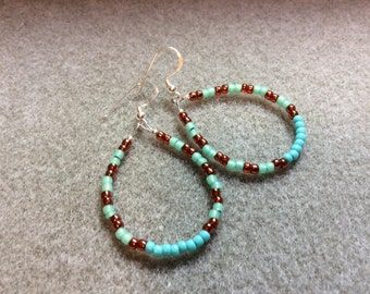 Sterling Silver Earrings Turquoise Copper and light Green Glass Seed Bead Loops  CL1618I
