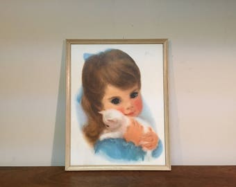"""30% SALE *** Big Eyed Girl Holding White Cat 14"""" x 11"""" Lithograph in Blonde Wood Frame"""