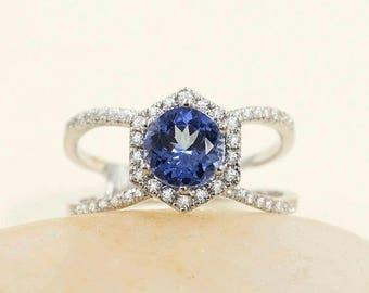 14k White Gold Hexagon Diamond Ring. 7mm AAA Tanzanite Engagement Ring & Hexagon Design Tanzanite Diamond Ring.Unique Tanzanite Diamond Ring