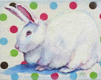 Rabbit Painting, Bunny Print, White Rabbit Painting, Bunny Print & Polka Dots Art, Bunny Rabbit Art Print 5 x 7 Jemmas Gems
