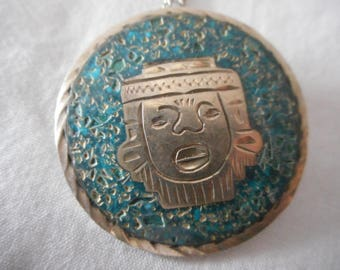 Sterling Silver Turquoise Mayan Pendant Necklace & Brooch Vintage Jewellery