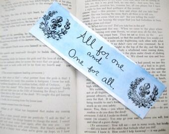 Original Watercolor Musketeers Bookmark Original Handmade Unique White Blue Alexandre Dumas Adventure d'artaganan athos aramis porthos