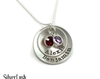 PERSONALIZED Sterling Silver Mother's Necklace with Two Birthstones