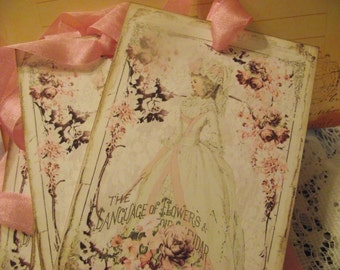 Set Of Four Gift Tags Of  Marie Antoinette  With Seam Binding Ribbon Tie