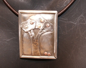 Silver and Copper Apple Tree Pendant