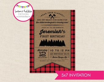 Lumberjack Birthday Invitation, Lumberjack Birthday, Lumberjack Printables, Lumberjack Birthday Decorations, Lauren Haddox Designs