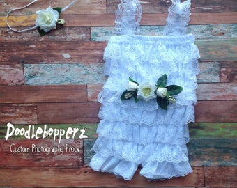 Lace Romper, 3 to 9 Month Size, Headband, Sash, Baby Girl, White, Rose, Floral headband and sash set, 6 Month Photo Prop, RTS