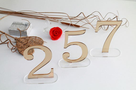 """Wedding table numbers Mirror acrylic numbers for wedding signs Gold number stand Table centerpiece Wedding party Wedding reception, 6"""" tall"""