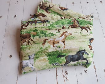 Microwave Heat Therapy Rice Bag in Horse Motif, Large Rice Bag, Foot Warmer, Heating Pad, Hot or Cold Therapy Pad, Lumbar Rice Bag