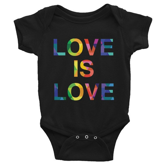 Hider House Infant Bodysuit Baby Onesie Love is Love Rainbow Colorful Infant Short Sleeve Onesie