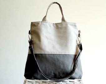 UNISEX Tote Bag, Grey and Khaki ColorBlock Tote, LAPTOP BAG, Men Messenger Bag, Handbag, Foldover Bag, Two tones Bag, gift for men, women