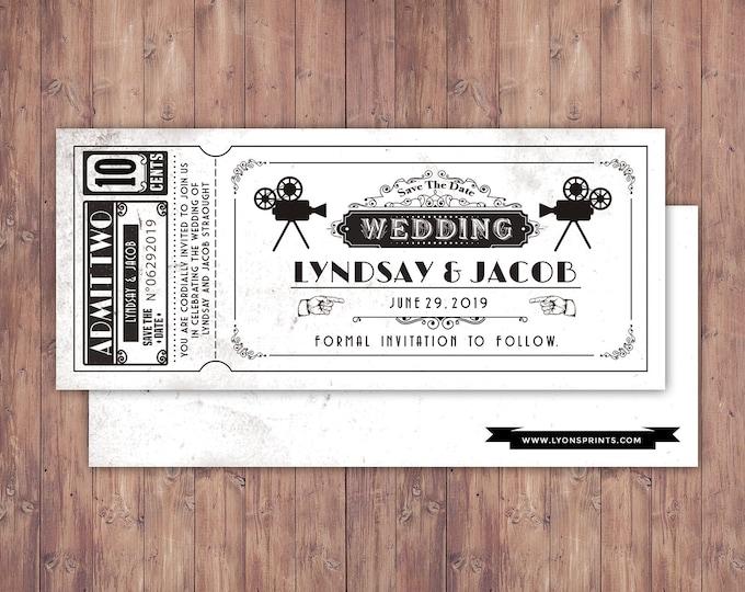 Art DecoVintage Retro Save the Date Ticket Announcement, wedding invitation, wedding shower, old Hollywood , Cinema, retro cinema ticket