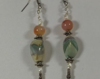 Sterling Silver, Jasper and Seed Pearl Dangle Earrings, One-of-a-Kind Earrings for Her