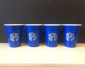 Monogram reusable 16 oz solo/party cup  - single cup; great hostess gift and party favor