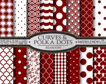 Maroon Polka Dot Digital Paper - Maroon Printable Spots with Polka Dot Shapes and Maroon Geometric Backdrops for Scrapbook Layouts