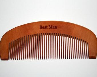 Peigne à barbe acajou bois peigne, peigne de bois, garçons d'honneur, cadeau personnalisé peigne à barbe, monogramme, cadeau d'anniversaire, cadeau de barbe,
