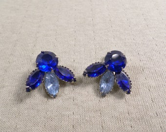 Beautiful Vintage Silver Tone Pair Of Prong Set Crystal Blue Rhinestone Clip On Earrings  DL#4827