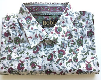 Mens shirt  floral print on white base separate detailing inside collar. LONG sleeves. VERY light weight 100% cotton